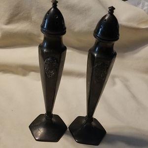 Vintage pewter salt and pepper shaker